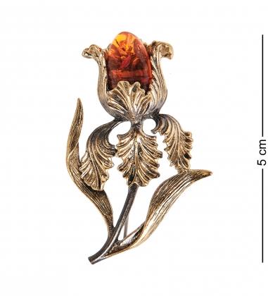 AM- 184 Фигурка-брошь  Ирис   латунь, янтарь