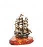 AM- 353 Фигурка  Кораблик  бол.  латунь, янтарь