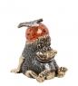 AM- 279 Фигурка  Еж с яблоком  бол.  латунь, янтарь