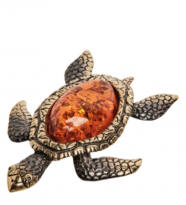 AM- 452 Фигурка  Морская черепаха   латунь, янтарь