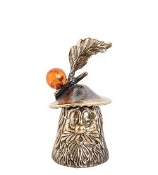 AM- 262 Фигурка «Гриб-колокольчик»  латунь, янтарь