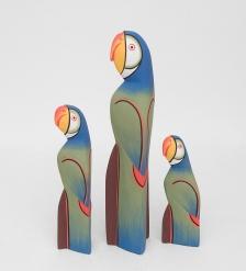 90-057 Статуэтка  Синий Попугай  набор из трех 40,30,20 см