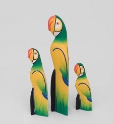 90-058 Статуэтка  Зеленый Попугай  набор из трех 40,30,20 см