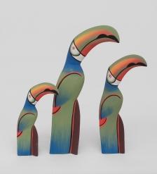 90-091 Статуэтка  Зеленый Тукан  набор из трех 40,30,20 см
