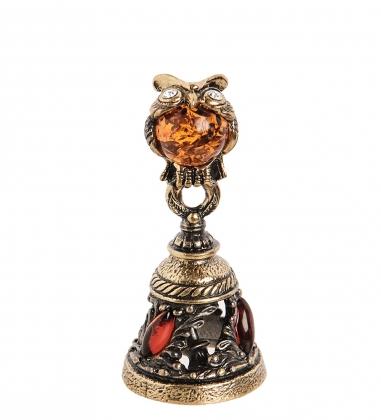AM- 347 Фигурка  Колокольчик-Сова   латунь, янтарь