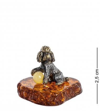 AM- 519 Фигурка  Пудель   латунь, янтарь