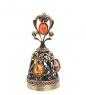 AM- 344 Фигурка  Колокольчик-ажур   латунь, янтарь