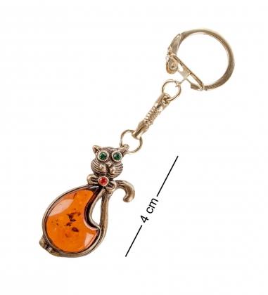 AM- 034 Брелок  Кот с бантом   латунь, янтарь