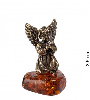 AM- 201 Фигурка  Ангел с крыльями   латунь, янтарь