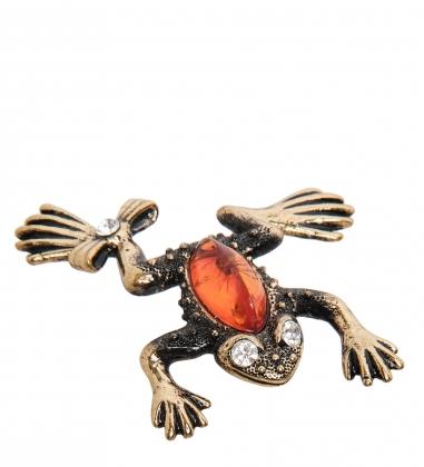 AM- 427 Фигурка  Лягушка с бантиком   латунь, янтарь