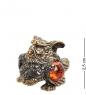 AM- 454 Фигурка  Мудрая сова   латунь, янтарь