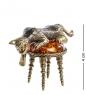 AM- 364 Фигурка  Кот на пуфике   латунь, янтарь