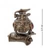 AM- 591 Фигурка  Филин доцент   латунь, янтарь