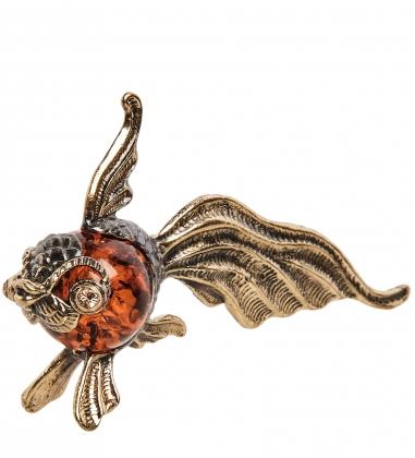 AM- 528 Фигурка  Рыбка золотая   латунь, янтарь