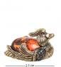 AM- 541 Фигурка  Селезень   латунь, янтарь
