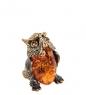 AM- 595 Фигурка  Филин   латунь, янтарь