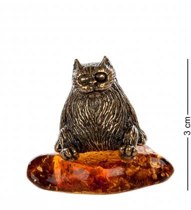 AM- 369 Фигурка «Кот»  латунь, янтарь