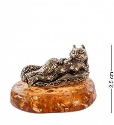 AM- 391 Фигурка  Кошка-Дева   латунь, янтарь