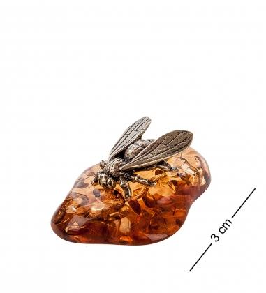 AM- 455 Фигурка  Муха   латунь, янтарь