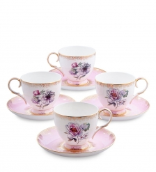 JK-122 Чайный набор на 4 перс.  Цветок Неаполя   Fiore Napoli Pavone