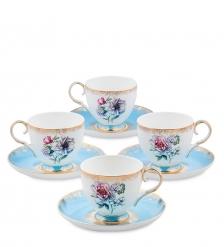 JK-129 Чайный набор на 4 перс.  Цветок Неаполя   Fiore Napoli Pavone
