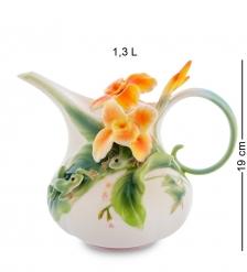 FM-82/ 1 Заварочный чайник  Лягушки и цветы канны   Pavone
