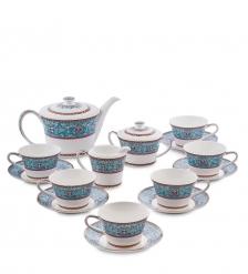 JK-172 Чайный сервиз 15 пр. на 6 перс.  Арабески   Arabesca Blue Pavone