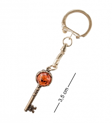 AM- 028 Брелок  Ключ  бол.  латунь, янтарь