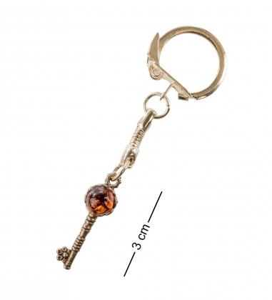 AM- 029 Брелок  Ключ  мал.  латунь, янтарь