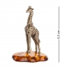 AM- 293 Фигурка  Жираф на подставке    латунь, янтарь