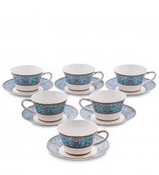 JK-171 Чайный набор на 6 перс.  Арабески   Arabesca Blue Pavone