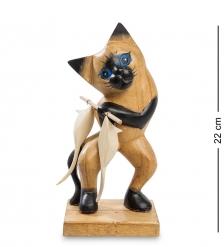 40-033 Статуэтка  Кот с уловом  суар 22 см