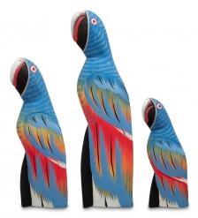 90-086 Статуэтка  Синий Попугай  набор из трех 30,22,15 см