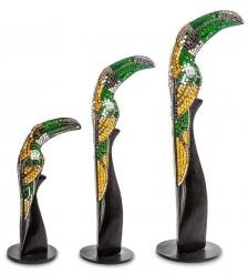 23-029 Н-р статуэток из трех  Тукан  дерево стекл.мозаика  50,40,30 см