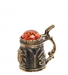 AM- 628 Наперсток  Кружка скарабей   латунь, янтарь