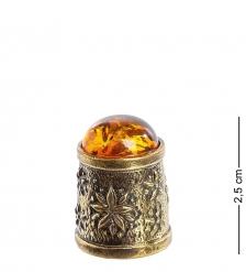 AM- 629 Наперсток  Хризантема   латунь, янтарь