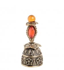 AM- 645 Фигурка  Колокольчик-цветок   латунь, янтарь