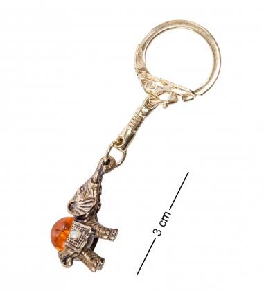 AM- 666 Брелок «Африканский слон»  латунь, янтарь