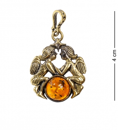 AM- 671 Подвеска  Знак зодиака-Близнецы   латунь, янтарь