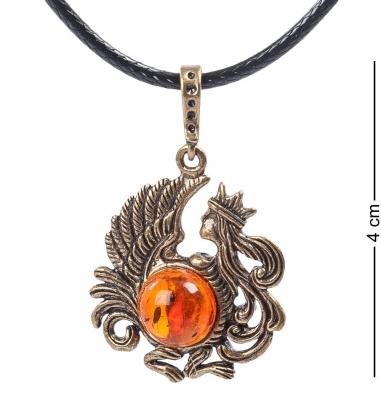 AM- 674 Подвеска  Знак зодиака-Дева   латунь, янтарь