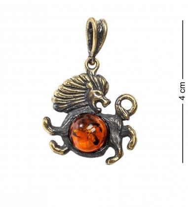 AM- 676 Подвеска  Знак зодиака-Лев   латунь, янтарь