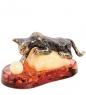 AM- 685 Фигурка  Игривый кот на подушке   латунь, янтарь