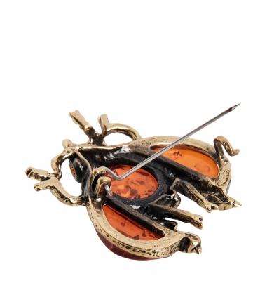 AM- 687 Фигурка-брошь  Жук майский   латунь, янтарь
