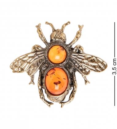 AM- 688 Фигурка-брошь  Пчела   латунь, янтарь
