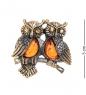 AM- 690 Брошь  Совушки на ветке   латунь, янтарь