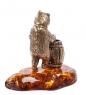 AM- 694 Фигурка  Медведь с бочкой меда   латунь, янтарь