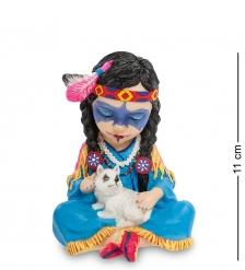 WS-792 Статуэтка в стиле Фэнтези  Индейская девочка с волчонком