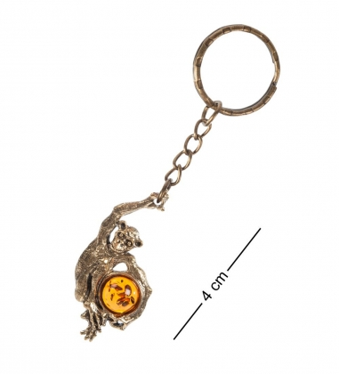 AM- 743 Брелок  Шимпанзе   латунь, янтарь