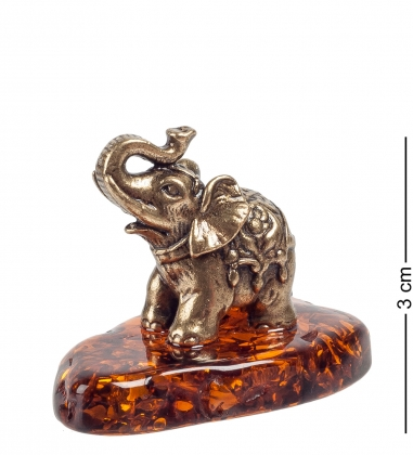 AM- 754 Фигурка  Слон-Дамбо   латунь, янтарь