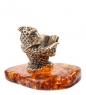AM- 764 Фигурка  Сова   латунь, янтарь